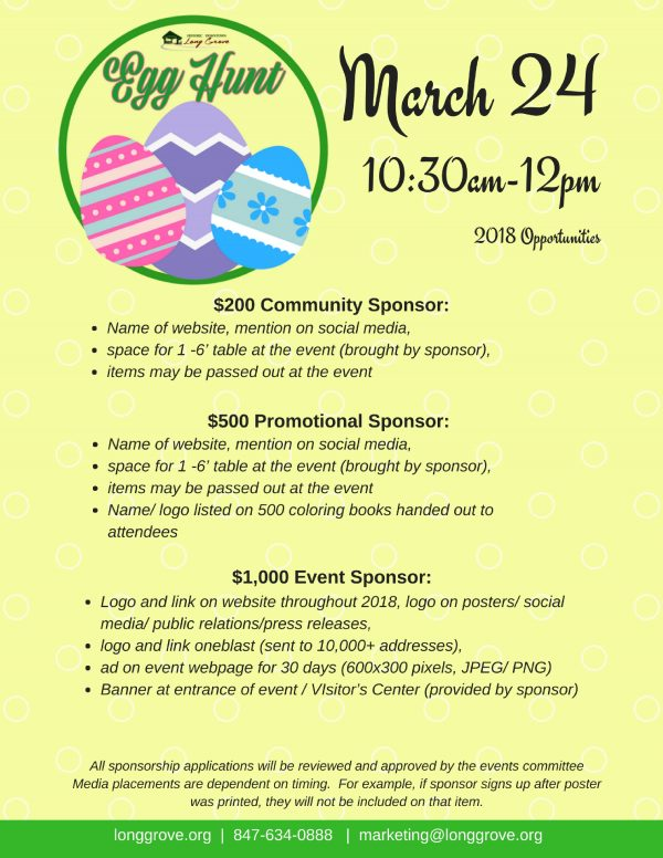 2018 Egg Hunt Sponsorships